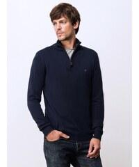 Pull Homme Coton/cachemire Col Montant Zippé Somewhere, Couleur Bleu Batik