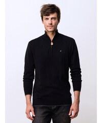 Pull Homme Coton / Cachemire Col Montant Zippé Somewhere, Couleur Noir