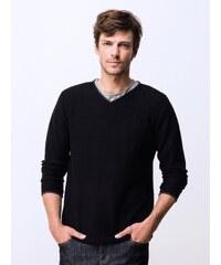 Pull Homme Coton / Cachemire Col V Somewhere, Couleur Noir