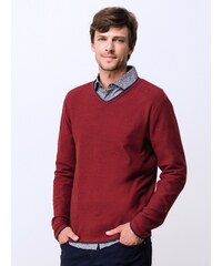 Pull Homme Coton / Cachemire Col V Somewhere, Couleur Marsala Chine