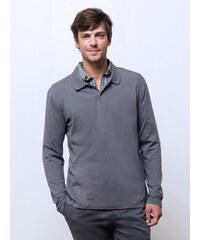 Polo Homme Bi-matières Garment Dyed Manches Longues Somewhere, Couleur Flanelle