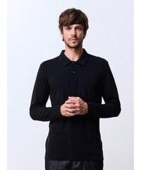 Polo Homme Bi-matières Garment Dyed Manches Longues Somewhere, Couleur Noir