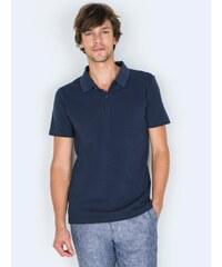 Polo Homme Bi-matières Coton Piqué/coton Jersey Somewhere, Couleur Indigo