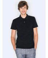Polo Homme Bi-matières Coton Piqué/coton Jersey Somewhere, Couleur Noir