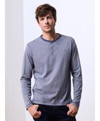T-shirt Homme Coton Bio* Rayures Col Tunisien Somewhere, Couleur Batik/blanc Casse