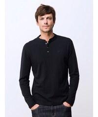 T-shirt Homme Coton Col Mao Somewhere, Couleur Noir
