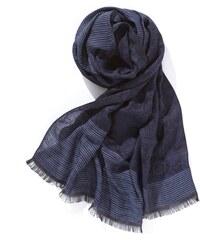 Foulard Homme Coton/soie Jacquard Tissage De Lyon Somewhere, Couleur Bleu