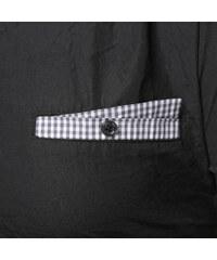 Re-Verse Kurzarmhemd mit karierten Details - Schwarz - S