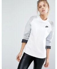 Nike - Premium - Sweat ras de cou à empiècements - Blanc