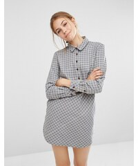 People Tree - Robe chemise en chambray à ourlet plongeant - Gris