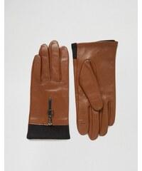 ASOS - Lederhandschuhe mit Strickbesatz und Reißverschluss mit Ringdetail - Braun