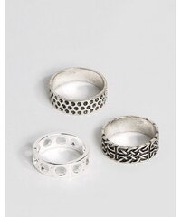 ASOS - Set mit Ringen in angelaufenen Designs mit Muster - Mehrfarbig