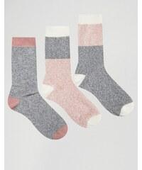 ASOS - Lot de 3 paires de chaussettes pour bottes avec empiècements rose - Multi