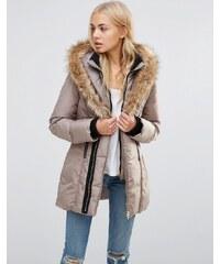 QED London - Manteau matelassé à encolure montante et bordure en fausse fourrure - Gris