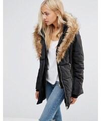 QED London - Manteau matelassé à encolure montante et bordure en fausse fourrure - Noir