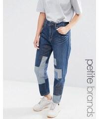 Waven Petite - Aki - Jean coupe masculine avec détails patchwork - Bleu