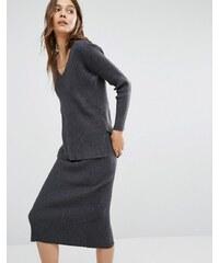 Paisie - Gerippter Pullover mit V-Ausschnitt - Grau