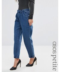ASOS Petite - Pantalon chino en jean à délavage foncé - Bleu