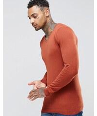 ASOS - Muskel-Pullover aus rostroter Baumwolle mit V-Ausschnitt - Orange