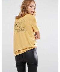 """Lira - T-Shirt im Retro-Look mit """"La Forever""""-Taschenprint - Gelb"""