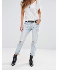 Lira - Boyfriend-Jeans im Distressed-Look mit Reißverschluss am Knöchel - Blau