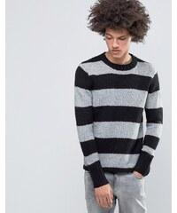 Cheap Monday - Caught - Schwarzes Strickshirt mit Blockstreifen aus Wollgemisch - Schwarz