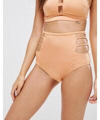 Exclusivité ASOS FULLER BUST - Bas de bikini taille haute découpé - Doré