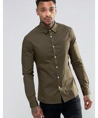 ASOS - Langärmliges, schmales Hemd in dunklem Khaki - Grün