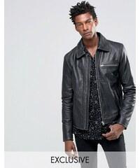Black Dust - Veste en cuir zippée - Noir