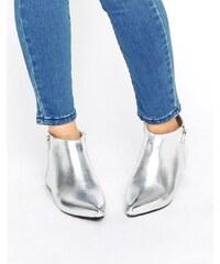 London Rebel - Silberne, spitze Stiefel mit seitlichem Reißverschluss - Silber