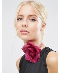ASOS - Collier ras du cou doux en velours avec rose - Violet