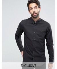 Farah - Chemise cintrée avec barre de col en stretch - Noir