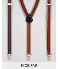 Reclaimed Vintage - Bretelles à rayures multicolores - Multi