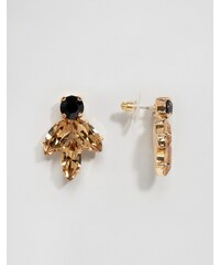 Krystal - Boucles d'oreilles à cristaux Swarovski en grappe - Noir
