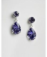 Krystal - Pendants d'oreilles avec cristaux Swarovski en forme de goutte - Bleu