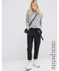 ASOS PETITE - Pantalon de jogging en similicuir avec nœud - Noir