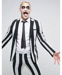 ASOS - Superenge Halloween-Anzugjacke mit Streifen in Schwarz und Weiß - Mehrfarbig