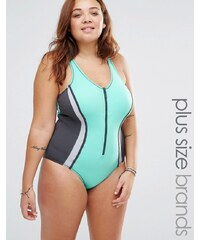 Robyn Lawley - Badeanzug mit Reißverschluss - Grün