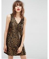ASOS - Robe droite en jacquard à imprimé léopard - Multi