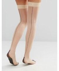 Jonathan Aston - Bas autofixants à talons et coutures contrastants - Beige