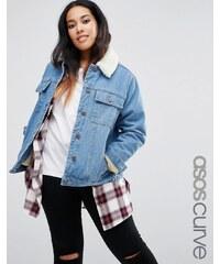 ASOS CURVE - Veste courte en jean avec col imitation mouton - Bleu