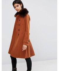 ASOS - Manteau en laine mélangée avec détails militaire et boutonnière contrastée - Orange