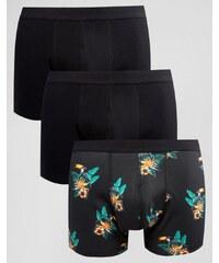 ASOS - Unterhosen mit Tukanmotiv und Blumen, 3er-Pack, 20% SPAREN - Schwarz