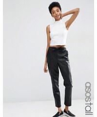 ASOS TALL - Pantalon de jogging en similicuir noué à la taille - Noir