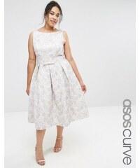 ASOS CURVE - WEDDING - Jacquard-Ballkleid in Midilänge - Mehrfarbig