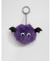 ASOS - Porte-clés chauve-souris d'Halloween à pompon - Violet