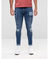 Hoxton Denim - Jean effet vaporisé avec rapiéçages sur les poches - Bleu