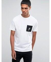 Hoxton Denim - T-shirt avec manches contrastantes et poche à motif rose - Marron