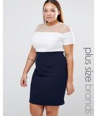Koko Plus - Kleid in Blockfarben mit Gänseblümchenborte und Netzstoffoberteil - Marineblau