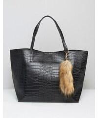 Glamorous - Fourre-tout effet croco avec breloque imitation queue de renard - Noir